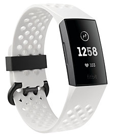 Fitbit Charge 3 Unisex Interchangeable White & Black Silicone Strap Touchscreen Smart Watch 22.7mm - A Special Edition