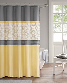 "Donnell 72"" x 72"" Embroidered and Pieced Shower Curtain"