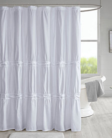 """510 Design Ciera 72"""" x 72"""" Solid Ruched Shower Curtain with Lining"""