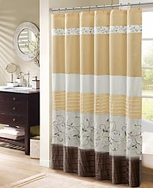 """Madison Park Serene 72"""" x 72"""" Faux Silk Embroidered Floral Shower Curtain"""