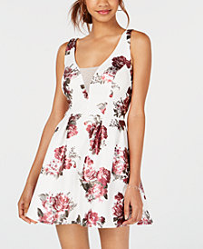 Crystal Doll Juniors' Printed Tulle-Detail Fit & Flare Dress