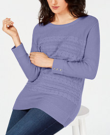 Karen Scott Petite Cable-Knit Button-Detail Sweater, Created for Macy's