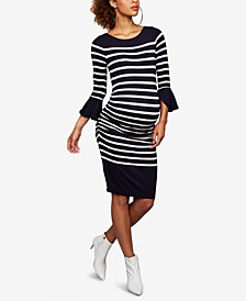 Maternity Bell-Sleeve Sheath Dress