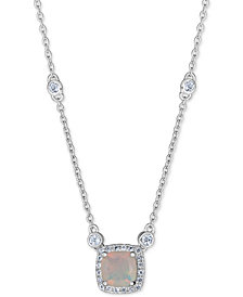 "Opal (1 ct. t.w.) & White Topaz (1/3 ct. t.w.) 18"" Pendant Necklace in Sterling Silver"