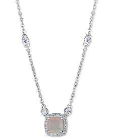"""Opal (1 ct. t.w.) & White Topaz (1/3 ct. t.w.) 18"""" Pendant Necklace in Sterling Silver"""