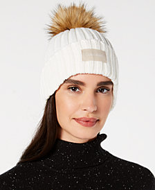 Calvin Klein Pop-Color Pom Pom Knit Beanie