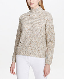 Calvin Klein Mock-Neck Drop-Shoulder Sweater