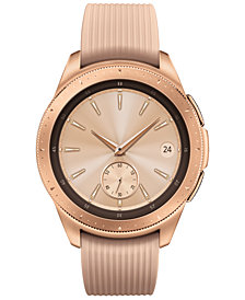 Samsung Unisex Galaxy Bluetooth Pink Beige Silicone Strap Touchscreen Smart Watch 42mm