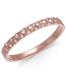 Kate Spade New York Rose Gold Tone Pavé Quilted Bangle Bracelet