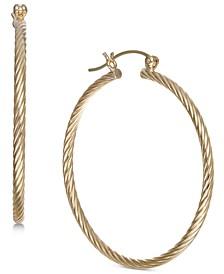 Corrugated Medium Hoop Earrings in 14k Gold