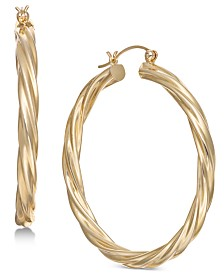 Large Twist Hoop Earrings in 14k Gold