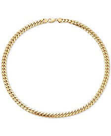 "Men's Cuban Link 22"" Chain Necklace in 18k Gold-Plated Sterling Silver"