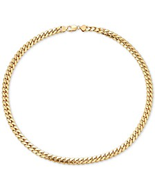 "Men's Cuban Link 24"" Chain Necklace in 18k Gold-Plated Sterling Silver"