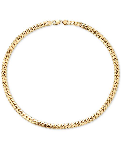 "Macy's Men's Cuban Link 22"" Chain Necklace in 18k Gold-Plated Sterling Silver"
