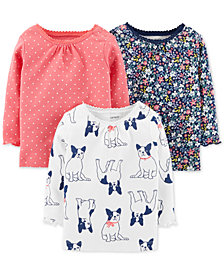 Carter's Baby Girls 3-Pk. Printed Cotton T-Shirts