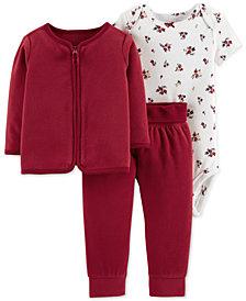 Carter's Baby Girls 3-Pc. Cotton Bodysuit, Fleece Cardigan & Pants Set