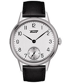 Men's Swiss Heritage Black Leather Strap Watch 42mm