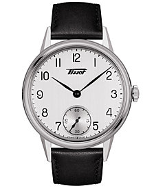 Tissot Men's Swiss Heritage Black Leather Strap Watch 42mm