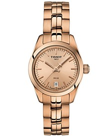 Women's Swiss T-Classic PR 100 Rose Gold-Tone PVD Stainless Steel Bracelet Watch 25mm