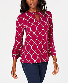 Charter Club Printed Keyhole Ruffle-Sleeve Top, Created for Macy's