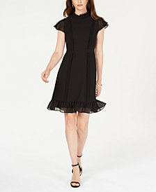Adrianna Papell High-Neck Ruffled Dress