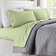 Quilted Hem Twin Microfiber Sheet Set