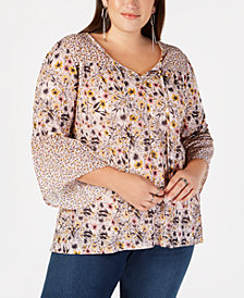 Style & Co Plus Size Mixed-Print Lantern-Sleeve Peasant Top, Created for Macy's
