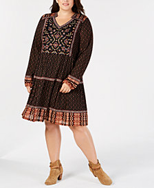 Style & Co Plus Size Mixed-Print Beaded Embroidered Peasant Dress, Created for Macy's