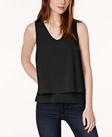 Bar III Layered-Look Split Back Tank Top, Created for Macy's