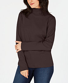 Karen Scott Long-Sleeve Cotton Turtleneck, Created for Macy's