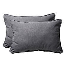Rave Graphite Over-sized Rectangular Throw Pillow, Set of 2