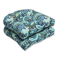 Pretty Paisley Navy Wicker Seat Cushion, Set of 2