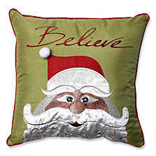 "Christmas Santa Believe 18"" Throw Pillow"