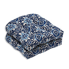 Woodblock Prism Blue Wicker Seat Cushion, Set of 2