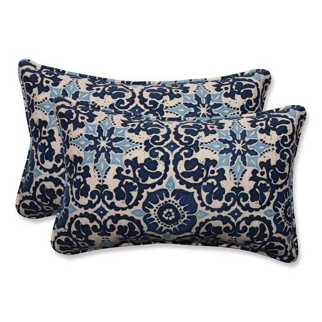 Pillow Perfect Woodblock Prism Blue Rectangular Throw Pillow, Set of 2