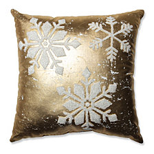 "Glamour Snowflakes Gold-White 17.5"" Throw Pillow"
