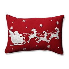 Santa Sleigh & Reindeers Red Rectangular Throw Pillow