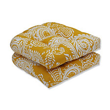 Addie Egg Yolk Wicker Seat Cushion, Set of 2