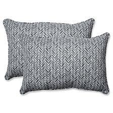Herringbone Slate Over-sized Rectangular Throw Pillow, Set of 2