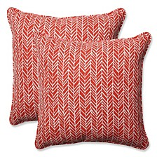 "Herringbone Tomato 18.5"" Throw Pillow, Set of 2"