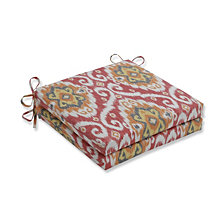 Ubud Coral Squared Corners Seat Cushion, Set of 2