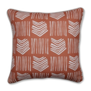 This decorative accent pillow unifies medium scaled tribal arrows, with slender vertical lines, to create a dynamic mud cloth pattern. This pillow is perfect for transitioning interior decor. The colors of coral and off white make this decorative toss pillow effortless to accent and coordinate.