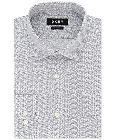 DKNY Men's Slim-Fit Stretch Gray Print Dress Shirt