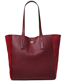 MICHAEL Michael Kors Junie Pebble Leather Suede-Trim Tote