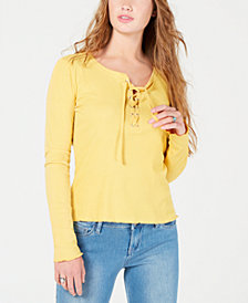 Hippie Rose Juniors' Rib-Knit Lace-Up Top
