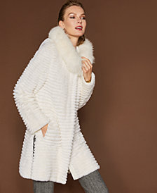 The Fur Vault Fox-Trim Rabbit Fur Coat