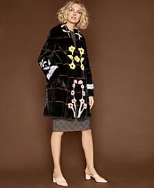Floral-Intarsia Mink Fur Coat
