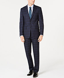Calvin Klein Men's Slim-Fit Stretch Navy Plaid Suit Separates