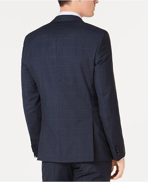 b461805c3ae Hugo Boss Men s Slim-Fit Blue Plaid Wool Suit Jacket   Reviews ...