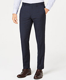 Hugo Boss Men's Slim-Fit Blue Plaid Suit Pants